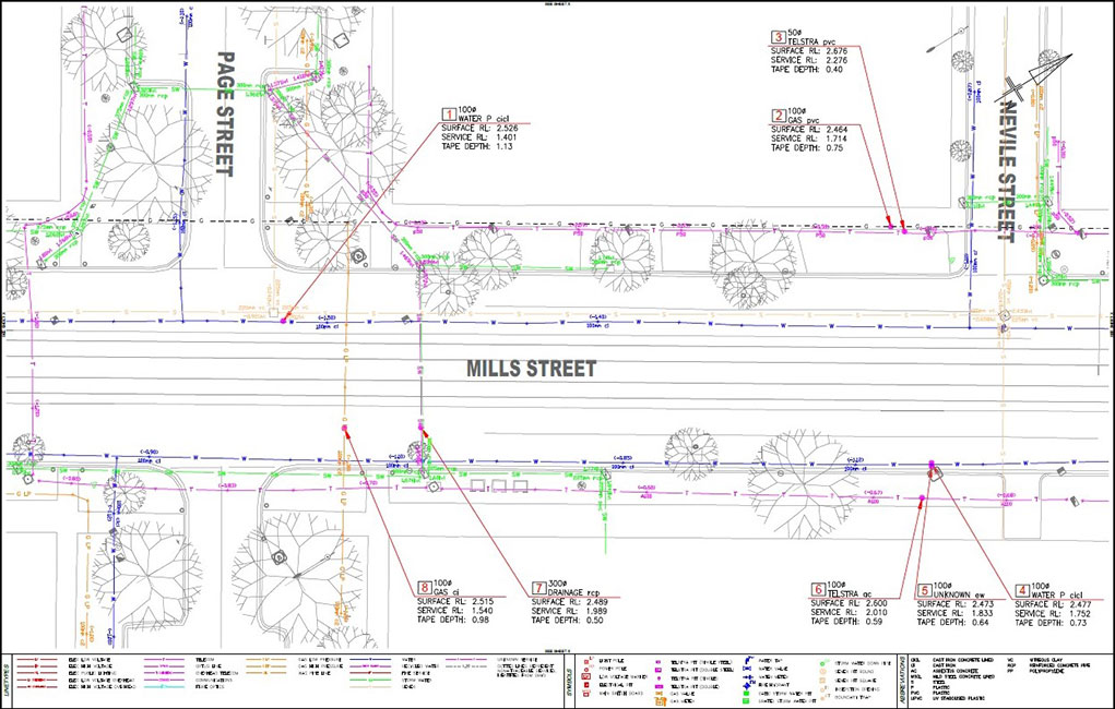 Utility mapping example from Mills street, St Kilda